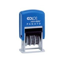 Timbro mini S160/L1 DATARIO + PAGATO 4mm autoinchiostrante COLOP S160/L1